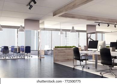 パノラマ窓のある部屋のオフィスの木の机の上にある空のスクリーンコンピュータ。側面図。3Dレンダリングモックアップ