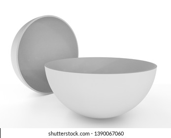 Blank Semi Sphere Isolated. Half Ball Concept. 3D render