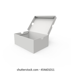 Blank shoe box, isolated on a white background. 3D illustration
