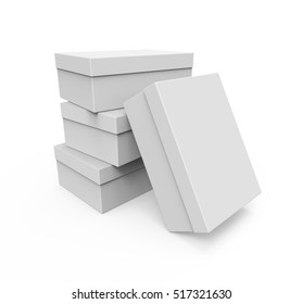 Blank shoe boxes isolated on white background, Mockup for your Design. 3D illustration