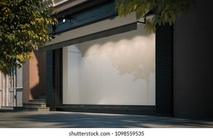 Blank shop window in the night street with light on the frame. Side view. 3d rendering
