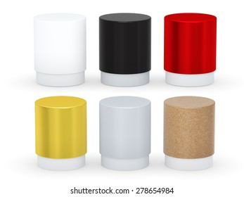 Blank short cylindrical box packaging  with variety material set, clipping path included.