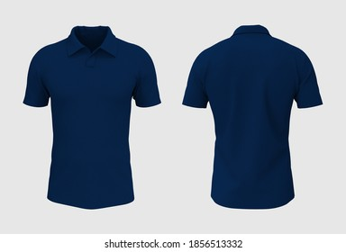 Blank short sleeve collared shirt mockup in front and back views, tee design presentation for print, 3d rendering, 3d illustration