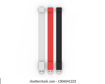 Blank  Silicone Wristband USB for Branding. 3d rendering illustration.