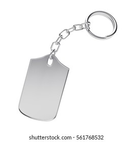 Blank silver key chain isolated on white background. 3D illustration
