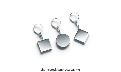 Blank silver key chain mock up side set view, 3d rendering. Clear silvery circular square rhombus keychain design mockup isolated. Empty plain metal keyring charm souvenir holder template