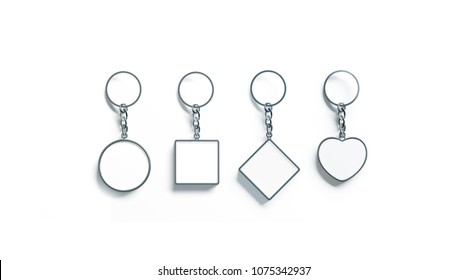Blank silver key chain mock up top view set, 3d rendering. Clear silvery circular square rhombus heart pendants keychain design mockup isolated. Empty plain keyring souvenir holder template