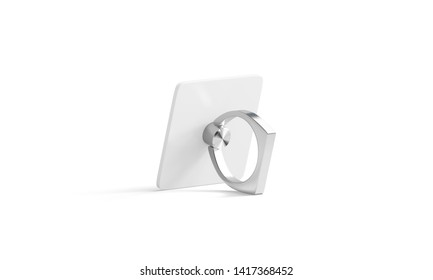 Blank silver phone finger grip mock up for smartphone, isolated, side view, 3d rendering. Empty stand stick handle with ring holder for phone. Clear sucker plastic or metal for mobile template.