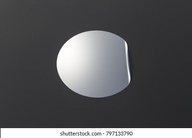 Blank silver sticker with bent edge on black background. 3d illustration