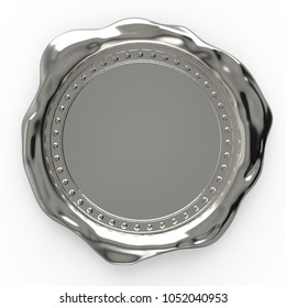 Blank silver wax seal isolated on white background - 3D Rendering