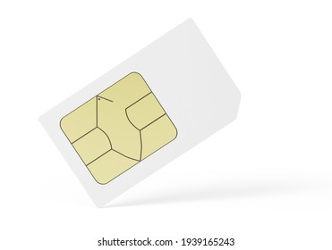 blank sim card isolated on white background. 3d illustration