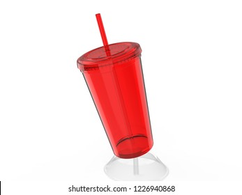 Blank  Sipper Acrylic Tumbler with Straw for branding. 3d render illustration.