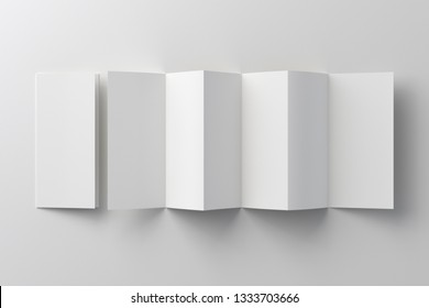 Blank six fold, twelve pages brochure booklet on white background with clipping path around accordion or zigzag folded and unfolded brochures. 3D illustration