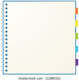Blank sketch book with colorful bookmark isolated in white background