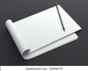 Blank sketchbook with pencil