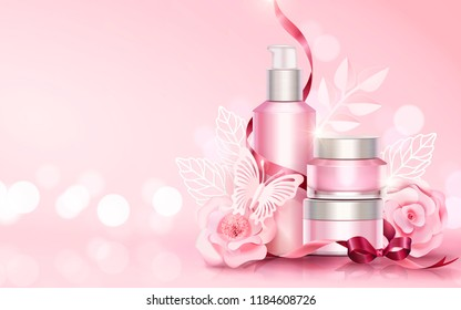 Blank skincare sets with paper art flowers and butterflies elements, copy space light pink 3d illustration