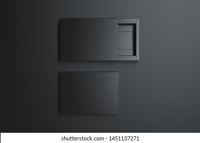 Blank sliding drawer box with thumb cut for branding presentation. 3d render illustration.