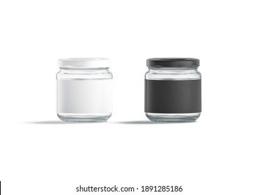 Blank small glass jar with black and white label mockup set, 3d rendering. Empty transparent closed can for food storage mock up, isolated, front view. Clear tin with sticker for logotype template.