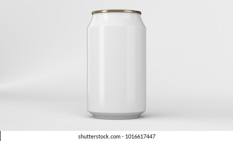 Blank small white and gold aluminium soda can mockup on white background. Tin package of beer or drink. 3D rendering illustration