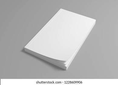 Blank soft cover book mockup. White 3D rendering mock-up.