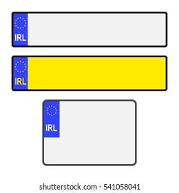 Blank Southern Ireland vehicle licence number plates in different styles