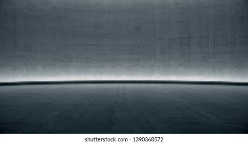 blank space Concrete wall with glowing light. Abstract background. 3d rendering