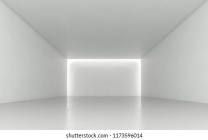 Blank space interior concrete wall with light. 3d render