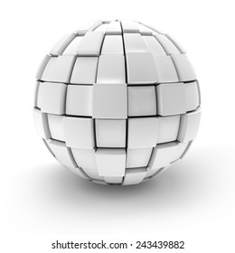 Blank sphere formed by blocks, 3d render, white background