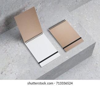 Blank spiral notepad mockup, notebook 3d rendering