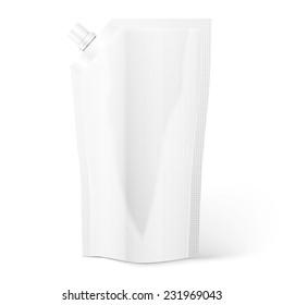 Blank spout pouch, bag foil or plastic packaging.