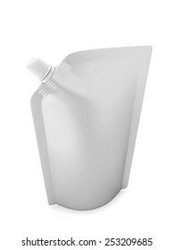 Blank spout pouch with cap or doy pack isolated on white with clipping path. 3d illustration.
