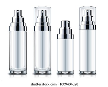 Blank sprays set, silver and white cosmetic containers mockup template isolated on white background in 3d illustration
