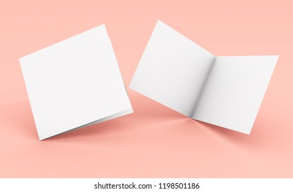 blank square bifold brochure on pink background 3d rendering