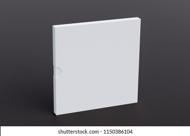 Blank square book in box standing on black leather. Include clipping path around book and box. 3d render