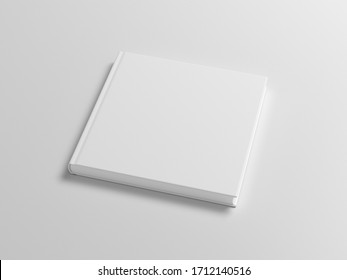 Blank square book cover mock up on white background. Side view. 3d illustration