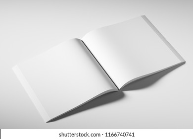 Blank square booklet template on white background. Mockup. 3d rendering
