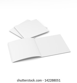 blank square catalog or brochure mock up on white. render