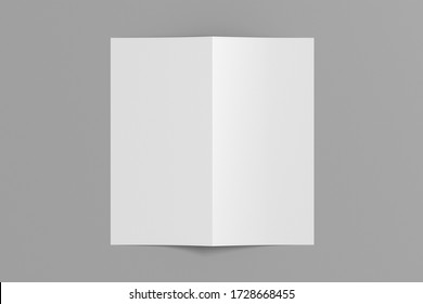 Blank square leaflet cover on gray background. Bi-fold or half-fold opened brochure isolated with clipping path. View directly above. 3d illustration