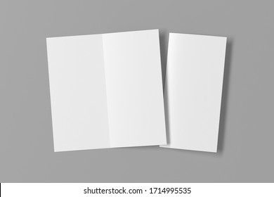 Blank square leaflet on gray background. Bi-fold or half-fold opened and folded brochure isolated with clipping path. View directly above. 3d illustration