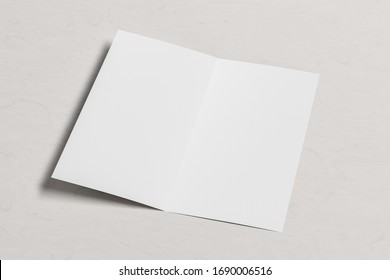 Blank square leaflet on white wooden background. Bi-fold or half-fold opened brochure isolated with clipping path. Side view. 3d illustration