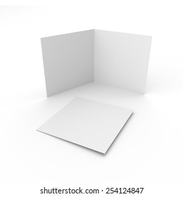 blank square leaflets with two wings isolated on white. render