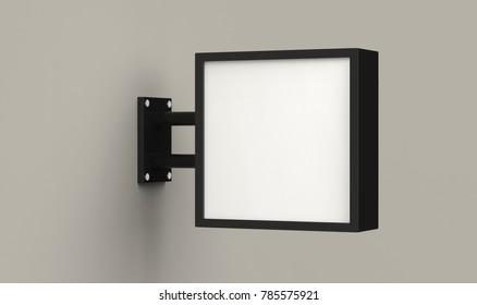 Blank square light box on grey background, 3d illustration.