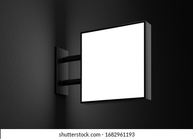 Blank square light box sign mockup with copy space on dark wall. 3D illustration