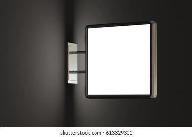 Blank square light box sign mockup on dark blank wall. With clipping path. 3d render