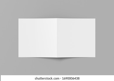 Blank square pages leaflet cover on gray background. Bi-fold or half-fold opened brochure isolated with clipping path. View directly above. 3d illustration