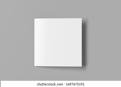 Blank square pages leaflet on gray background. Bi-fold or half-fold closed brochure isolated with clipping path. View directly above. 3d illustration