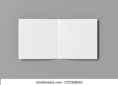 Blank square pages leaflet on gray background. Bi-fold or half-fold opened brochure isolated with clipping path. View directly above. 3d illustration