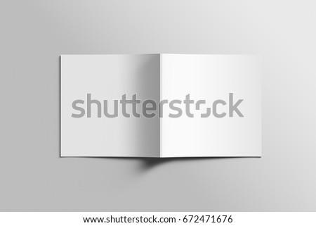 blank square photorealistic brochure mockup onのイラスト素材