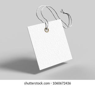 Blank square tag tied with string. Price tag, gift tag, sale tag, address label isolated on grey background. 3d render illustration
