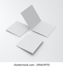 blank square two-leaf brochures isolated on white. render